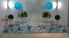 Batizado. Mesa espelhada. Batizado menino. Azul e branco. Baptism