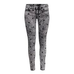 LUCLUC Grey Dot Snowflake Jeans Pants featuring polyvore, women's fashion, clothing, lucluc, pants, bottoms and jeans