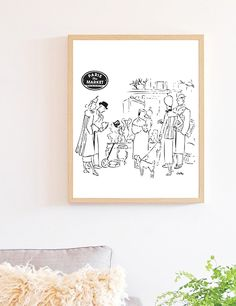 Illustration of Paris, Flea market in Paris, black and white sketch perfect for any home decor or gallery wall, Illustration by Emilka