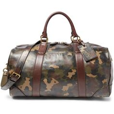 Polo Ralph Lauren Camouflage-Print Leather Duffel Bag ( 698) ❤ liked on  Polyvore a474fb0bb786b