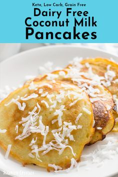 Dairy free coconut milk pancake recipe that's also gluten free, keto, low carb and paleo. Super easy to make with canned coconut milk giving you a healthy, fluffy pancake mix. Coconut Milk Pancakes, Dairy Free Pancakes, Coconut Milk Recipes, Canned Coconut Milk, Coconut Flour, Dairy Free Recipes, Paleo Recipes, Low Carb Recipes, Recipes