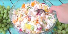 Southern Ambrosia Salad is a must-have at any gathering. Whipped topping, pineapple, grapes, mandarin oranges, maraschino cherries and coconut flakes! Ambrosia Dessert, Ambrosia Salad, Light Desserts, Summer Desserts, Whipped Topping, Summer Fruit, Salad Recipes, Entrees, Salads