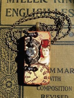 """Altered """"Victorian Woman with Faux Gem"""" Steampunk Domino Pendant by CraftyColettes, on Etsy"""