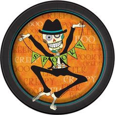 """7"""" Day Of The Dead Halloween Party Plates, 8ct"""