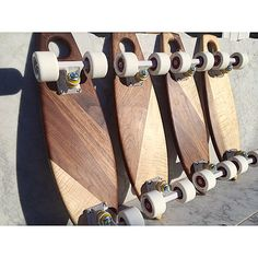 Luxury skateboards in walnut and curly maple by martin byers of ThankU.ca