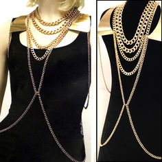 """Multi Layered Fashion Body Chain  Descriptions • Perfect accessory to glam up any outfit • Can be worn over clothing, swimsuits, etc. • Measures approximately Neck: 17""""L Extender: 3""""L Back: 26""""L Extender: 3""""L"""