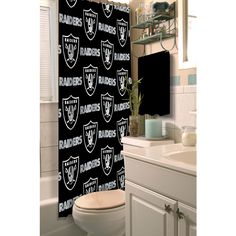 [[start tab]] Description The Oakland Raiders NFL Shower Curtain let's you show your team spirit even while you're in the shower! This shower curtain is dyed to match your favorite football team's tru
