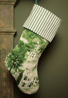 toile pillows | Rare Grandma Moses Williamstown Toile Vintage Barkcloth Stocking