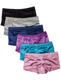 5c1a60eb5c4 Barbra 6 pack Women s Satin Full Coverage Guaranteed Fit Boyshort Panties   BarbraLingerie  Boyshorts