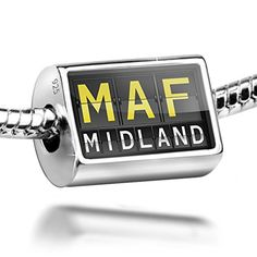 Sterling Silver Charm MAF Airport Code for Midland  Bead Fit All European Brac *** Want to know more, click on the image.