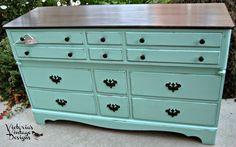 Victoria's Vintage Designs: Hand Painted Vintage Aqua Bay Dresser