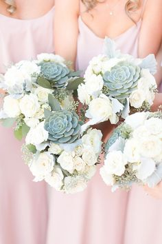 white and succulent bridesmaid bouquets / http://www.himisspuff.com/succulent-wedding-decor-ideas/12/