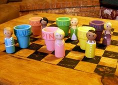 peg dolls and matching pots - cute hair and dresses