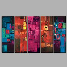 Five Panel Abstract Oil Paintings in High Quality 4785405 2017 – $145.59