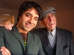"""cohenyearsphotos: """" """" Leonard with Jian Ghomeshi """" Kindly shared by Christine R. on Facebook. Jian interviewed Leonard in 2009. Watch it here. Photographer unknown. """""""