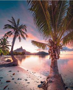 Sunset at Bora Bora, French Polynesia Sunset Quotes Beautiful, Beautiful Beaches, Beautiful Pictures, Beautiful Ocean, Beach Sunset Photography, Landscape Photography, Travel Photography, Scenery Photography, Canon Photography