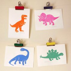 Dinosaurs bedroom decor - 4 A5 Handprinted Relief Prints by hello DODO - T-Rex, Stegosaurus, Brontosaurus and Parasaurolophus on Etsy, £14.00