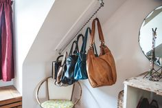 Not just for clothes! Zebedee Hanging Rail is perfect for pans, tools, shoes - if you have a sloping ceiling- Zebedee is the storage solution!