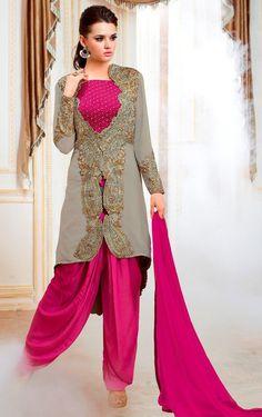 Exclusive Hot Pink & Grey Pure Georgette Patiyala Suit With Jacket Buy Apparel