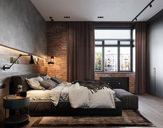 loft interior 2 on Behance Loft Style Bedroom, Industrial Bedroom Design, Loft Interior Design, Hotel Room Design, Loft Design, Home Interior, Modern Bedroom, Country Interior Design, Industrial Interiors