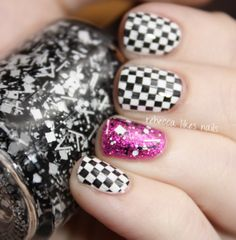 rebecca likes nails: Black and white checkered flags with pink accent nail art manicure #nails