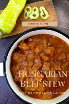 Hungarian Beef Stew This is a thick beef dish cooked with lots of onions, Hungarian paprika powder, tomatoes and some sweet peppers. You can have it with bread, or serve with nokedli noodles (spaetzle) or boiled potatoes and pickles. Recipe Ingredients for