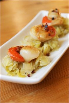 Scallops and leek fondue in white wine - Scallops and leek fondue in white wine - Confinement Food, Fondant, Good Food, Yummy Food, Cooking Recipes, Healthy Recipes, Healthy Food, Pescatarian Recipes, My Best Recipe