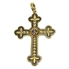 Exceptional Antique Austrian Gold and Enamel Cross