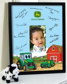 Johnny Tractor Birthday - Framed Signature Matte {*For A John Deere Baby Shower*}((This would be cute to have everyone sign @ the shower :):). Tractor Birthday, Farm Birthday, Baby 1st Birthday, 1st Birthday Party Themes, Birthday Ideas, John Deere Party, Birthday Frames, Farm Party, Barnyard Party
