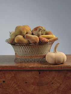 19th c. painted wirework basket & collection of velvet fruit pincushions