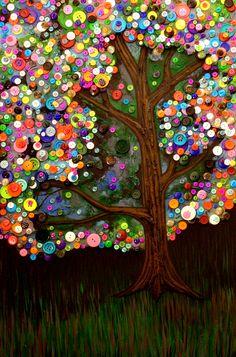 Button Tree Painting - Monica Furlow