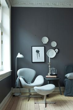 Comfy and cosy - the Fritz Hansen Swan Chair by Arne Jacobsen http://www.nest.co.uk/product/fritz-hansen-swan-lounge-chair-fabric Photography by Margrethe Myhrer, image via Desire to Inspire.