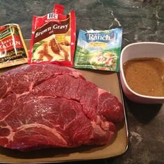 Easiest and most amazing roast ever. Combine the ranch, italian dressing and brown gravy packets with a 1/2 cup of water and pour over roast in a crock pot. Cook on low for 7 to 8 hours.
