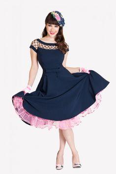 1950s Alika Circle Navy Retro Dress $143.00 AT vintagedancer.com