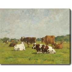 """@Overstock.com - Eugene Boudin 'Cows at the Pasture' Oil on Canvas Art 30""""w $88.39"""