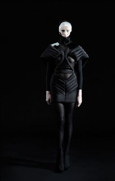 Dark Fashion - black dress with structured symmetry, pleated panels & 3D shape; futuristic fashion design // Erevos Aether