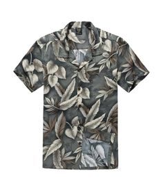 Men Cotton Hawaiian Shirt in Green Leaf with Feather