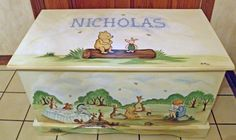 Custom Designed Winnie the Pooh inspired Toy Chest, Chest done with Monogram or Name, kids furniture, art and decor, wooden toy box on Etsy, £179.91