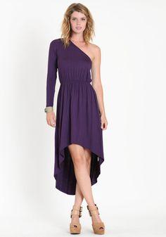 Geneva Asymmetrical One Shoulder Dress in Purple