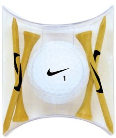 "Nike RZN Black Golf Ball (2015)-1 Ball Pillow Pack W/ 4 Tees...Nike RZN Black, 1 Nike golf ball with a 1-4 color custom logo on one side of the golf ball and 4 Nike (swoosh) tees (2-3/4"") packed in a pillow pack. Note: the tees can be custom imprinted (1-color) for an additional charge, please inquire for details. Must be ordered in multiples of 12. Pricing listed is for 2015.The model name of the golf ball is RZN Black, but the golf balls are white. NOTE: the product image shown is generic"