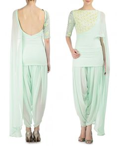MADSAM TINZIN Embroidered Mint Green Short Kurta and Dhoti Pants