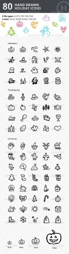 Christmas Thanksgiving Halloween Icons Bundle                                                                                                                                                                                 More