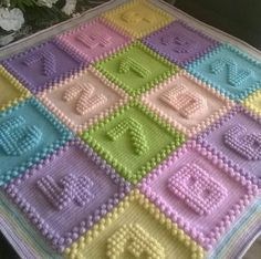 Custom Listing For Mary O'Brien, Crochet Bobble Blanket, Baby Blanket by WishWantDesire on Etsy Crochet Afghans, Crochet Puntada Bobble, Bobble Stitch Crochet, Crochet Quilt, Crochet Squares, Crochet Granny, Baby Knitting Patterns, Crochet Blanket Patterns, Baby Blanket Crochet