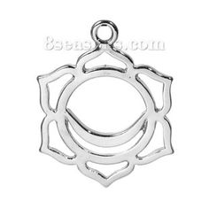 Zinc Based Alloy Yoga Healing Pendants Silver Tone Swadisthana /Svadhisthana Carved Hollow 30mm(1 1/8) x 23mm( 7/8), 10 PCs :