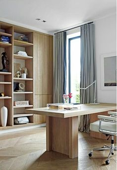 Home office in limed oak, designed by Piet Boon