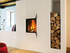 Holzbetriebener Einbaukamin Kiss von Focus- Ein Blickfang im Wohnzimmer