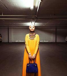 MuStard Yellow dress || #hijab #hijabi #muslimah #coveredstyle #modeststyle || Dubai Fashion, Red Fashion, Modest Fashion, Unique Fashion, Fashion Outfits, Hijab Fashion Inspiration, Style Inspiration, Fashion Ideas, Fashion Trends