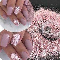 Gold Manicure, Rose Gold Nails, Blush Pink Nails, Pink Sparkle Nails, Pink Gel Nails, Light Pink Nails, Silver Nail, Bling Nails, Silver Glitter