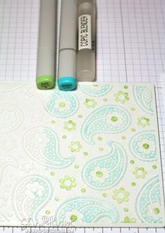 copic directly onto embossing folder - mist to reactivate with copic blending fluid - emboss paper.  M-BossMarchCalMB1-SH