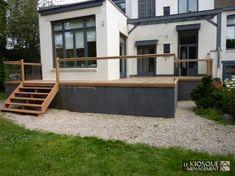 terrasse bois en hauteur avec garde corps et escalier - Le Kiosque Aménagement